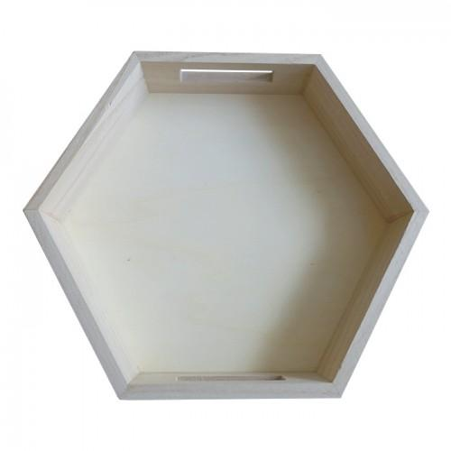 Hexagonal wooden tray 30 x 26 x 5 cm