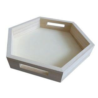 Bandeja hexagonal de madera 25 x 22 x 4 cm