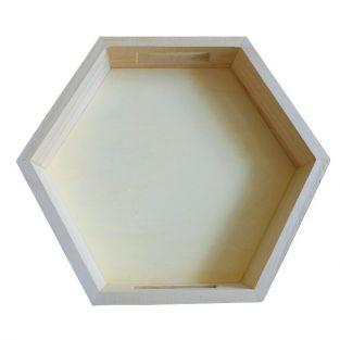 Hexagonal wooden tray 25 x 22 x 4 cm