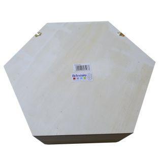 Estante de madera hexagonal 30 x 26,5 x 10 cm
