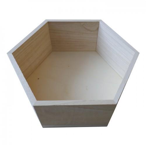 Estante de madera hexagonal 27 x 23,5 x 10 cm