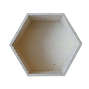 Hexagon wooden shelf 27 x 23,5 x 10 cm