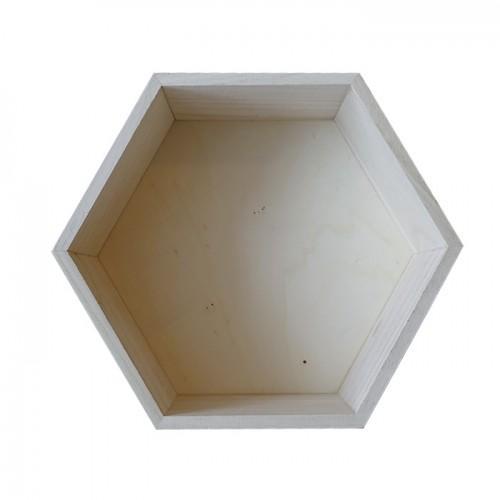 Etagère hexagone en bois 27 x 23,5 x 10 cm