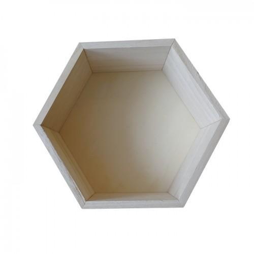 Estante de madera hexagonal 24 x 21 x 10 cm