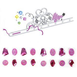 Coffret diadèmes de princesse à customiser - pierres précieuses roses