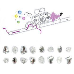 Coffret diadèmes de princesse à customiser - pierres précieuses blanches