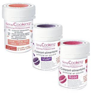 Kit de colorants alimentaires - Rose-violet-corail