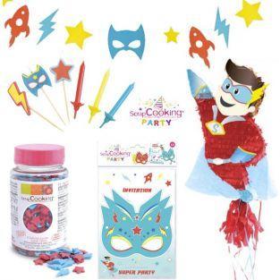 Kit Vajilla de cumpleaños con Piñata - Superhéroe