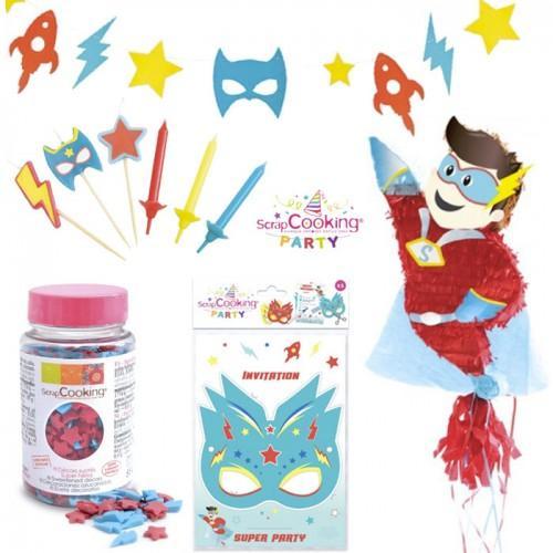 Coffret anniversaire Super héros avec Piñata