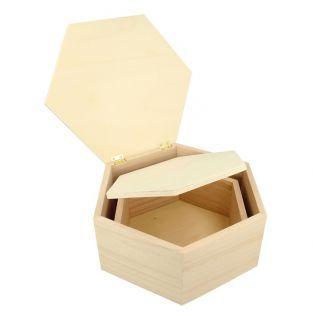 2 hexagonal wooden boxes