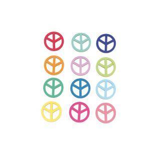 Multicolored wooden Stickers - Peace & Love