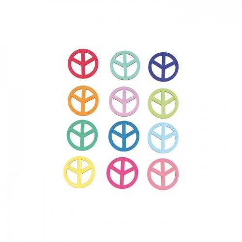 Multicolored wooden Stickers - Peace & Love