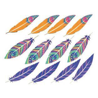 Pegatinas de madera multicolores - Plumas