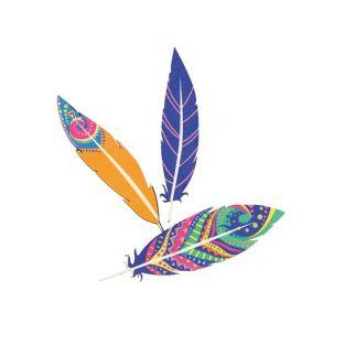 Multicolored wooden Stickers - Feathers