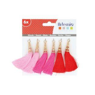 6 pompons rose-fuchsia-rouge