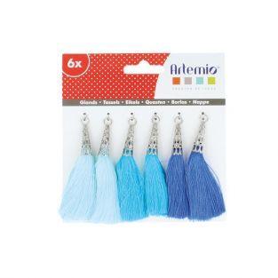 6 pompons bleus