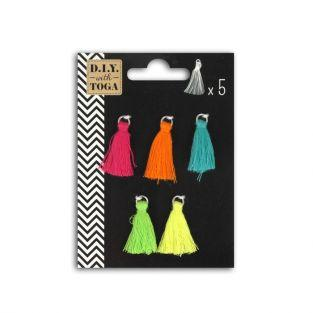 5 brightly colored tassels 1.5 cm - Bollywood