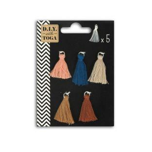 5 natural-colored tassels 1.5 cm - Earth