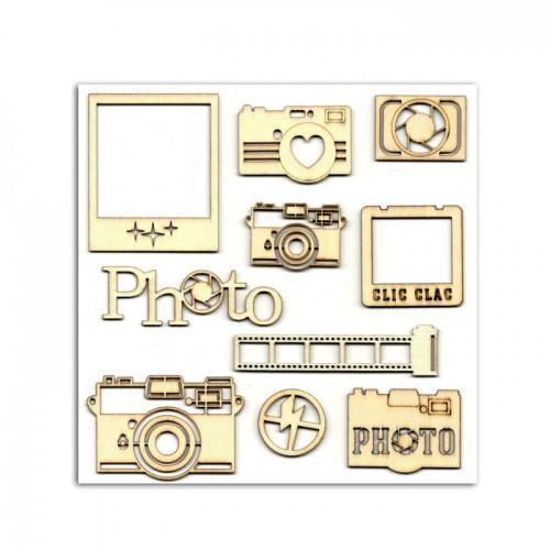 10 formes en bois pour scrapbooking Photographie - Clic Clac