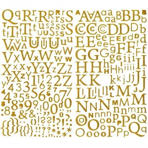Alphabet en or pailleté