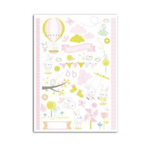 Calcomanías nacimiento de niña 15 cm x 21 cm - rosa