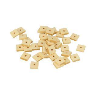 80 cuentas de madera cuadradas 10 x 6 mm