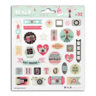 32 stickers epoxy pour scrapbooking Photographie - Clic Clac