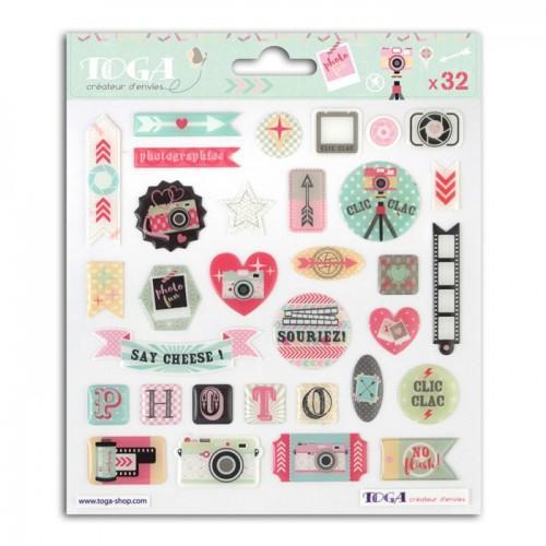32 stickers epoxy pour scrapbooking Photographie - Clic Clac