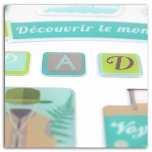 39 stickers epoxy pour scrapbooking Aventurier - Escapade