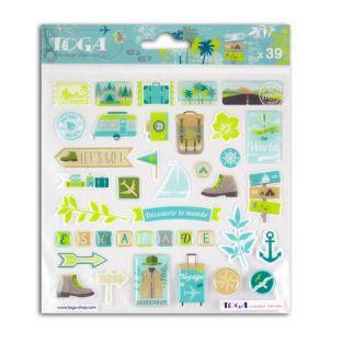 39 epoxy stickers for scrapbooking Aventurer - Escapade