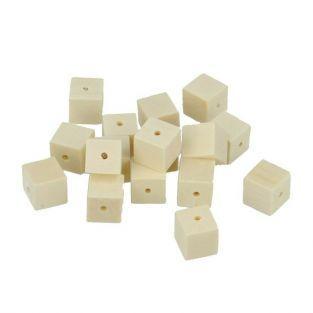 80 cuentas de madera cuadradas 10 x 10 mm