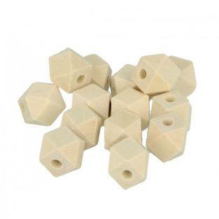 14 perles en bois polygonales 14 x 12 mm