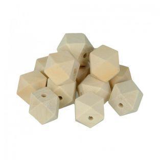 8 perles en bois polygonales 24 x 20 mm