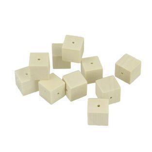 20 perles en bois carrées 15 x 15 mm