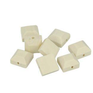 8 wood beads squared studs 10 x 4 mm