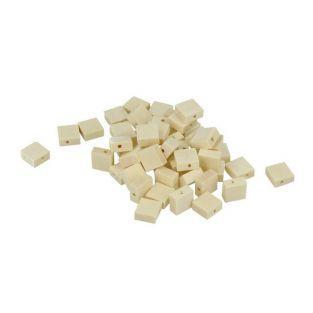 100 flat squared wood beads 10 x 3 mm