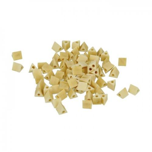 80 wood beads triangles 5 mm