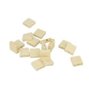 80 perles en bois carrées 33 x 15 mm
