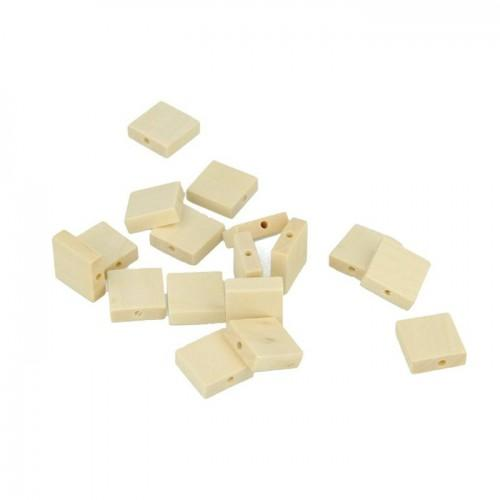 80 wood beads square 33 x 15 mm