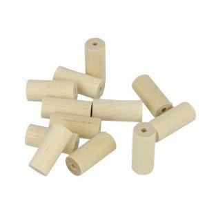 40 perles en bois cylindres 25 x 8 mm