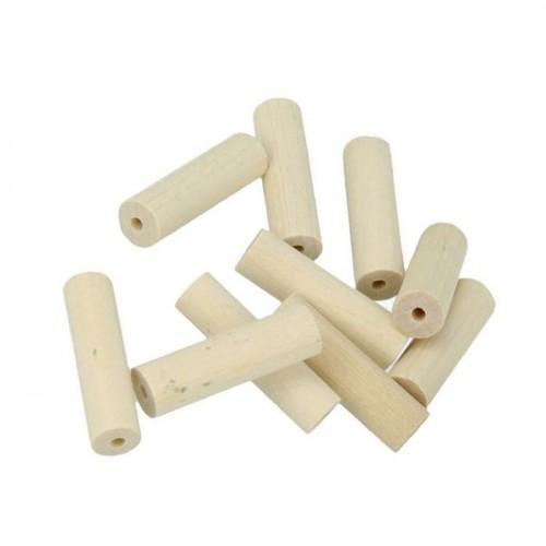10 perles en bois cylindres 30 x 10 mm