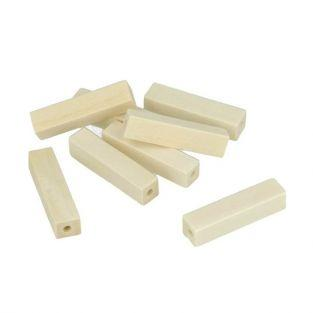10 wood beads rectangular 25 x 10 mm