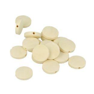 17 perles en bois rondes plates 15 x 3 mm