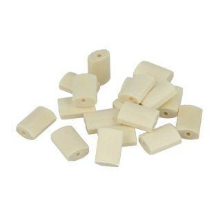 18 perles en bois cylindres plats 15 x 10 mm