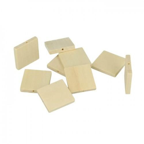 12 wood beads square 30 x 3 mm