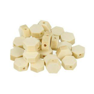 16 hexagonal wood beads 10 x 3 mm