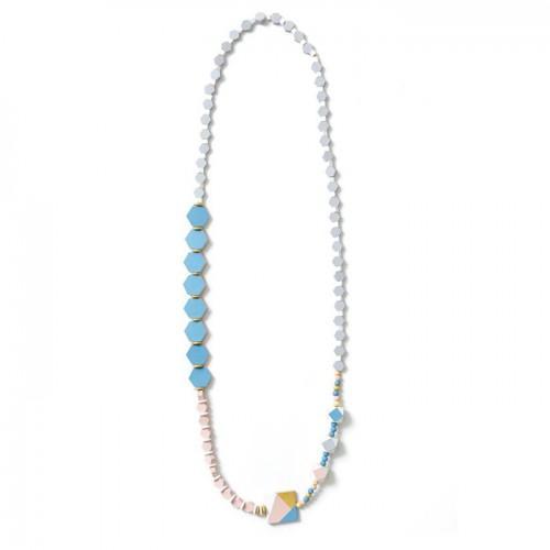 16 hexagonal wood beads 10 x 3 mm