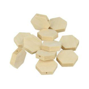 15 hexagonal wood beads 20 x 3 mm