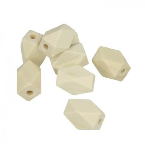 8 cuentas de madera poligonales 15 x 11 mm