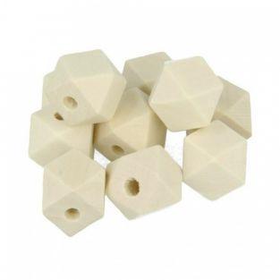 10 perles en bois polygonales 15 mm